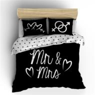 Ágynemű garnitúra, Mr. és Mrs., fekete-fehér - paplanhuzat: 140x200/220 cm, párnahuzat: 60x70 (E902369)