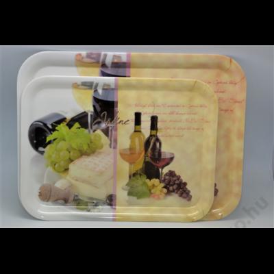 Tálca, 33*24,5*1,8cm, műa., Wine-Cheese (EM40041)