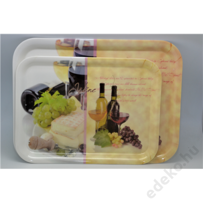 Tálca, 38,4*28,5*2cm, műa., Wine-Cheese (EM40042)